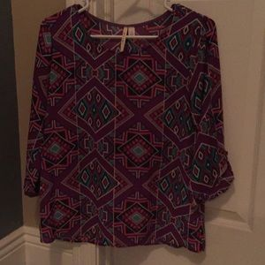 3/4 length sleeve 100% Polyester Blouse
